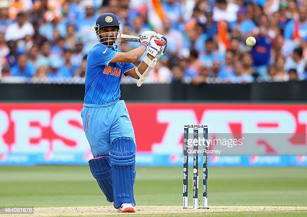 Ajinkya Rahane of India bats during the 2015 ICC Cricket World Cup match between South Africa and India at Melbourne Cricket Ground on February 22...