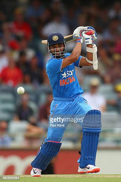 Ajinkya Rahane of India bats during the One Day International match between England and India at the WACA on January 30 2015 in Perth Australia