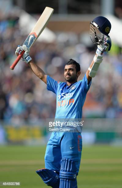 Ajinkya Rahane of India celebrates reaching his century during the 4th Royal London One Day International match between England and India at...