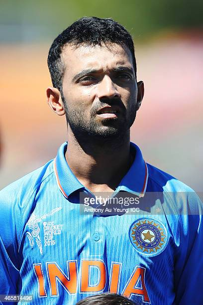 Ajinkya Rahane of India during the 2015 ICC Cricket World Cup match between Ireland and India at Seddon Park on March 10 2015 in Hamilton New Zealand