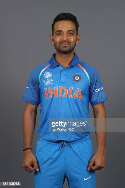 Ajinkya Rahane of India poses during an India Portrait Session ahead of ICC Champions Trophy at Grange City on May 27 2017 in London England