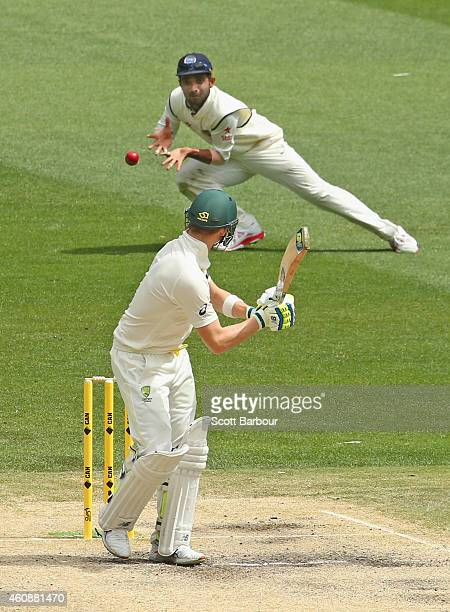 Ajinkya Rahane of India takes a catch at leg slip to dismiss Steven Smith of Australia during day four of the Third Test match between Australia and...
