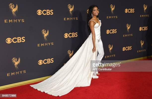 Ajiona Alexus arrives for the 69th Emmy Awards at the Microsoft Theatre on September 17 2017 in Los Angeles California / AFP PHOTO / Mark RALSTON