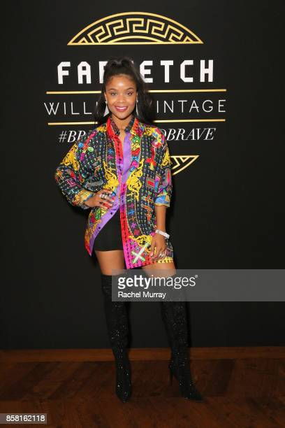 Ajiona Alexus at Farfetch and William Vintage Celebrate Gianni Versace Archive hosted by Elizabeth Stewart and William BanksBlaney on October 5 2017...