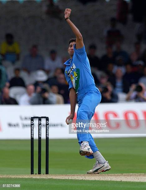 Ajit Agarkar bowling for India during the NatWest One Day International between England and India at Lord's cricket ground London 29th June 2002...