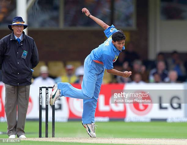 Ajit Agarkar of India bowling during the NatWest Series One Day International between India and Sri Lanka at Edgbaston Birmingham 6th July 2002 India...