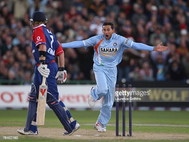 Ajit Agarkar of India celebrates bowling Ian Bell of England during the Fourth NatWest Series One Day International Match between England and India...
