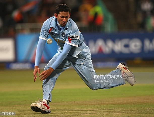 Ajit Agarkar of India drops a catch from Shahid Afridi of Pakistan during the ICC Twenty20 Cricket World Championship match between India and...