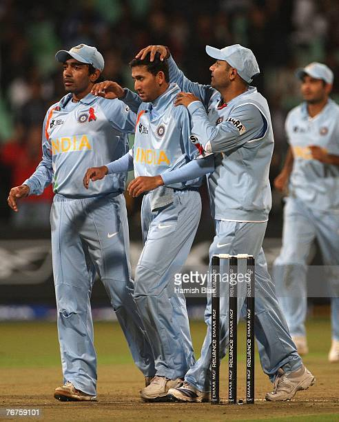Ajit Agarkar of India is congratulated by team mates on the wicket of Salman Butt of Pakistan during the ICC Twenty20 Cricket World Championship...