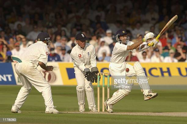 Ajit Agarkar of India is hit by the ball during the fourth day of the 1st npower test match between England and India at Lords in London on July 28...