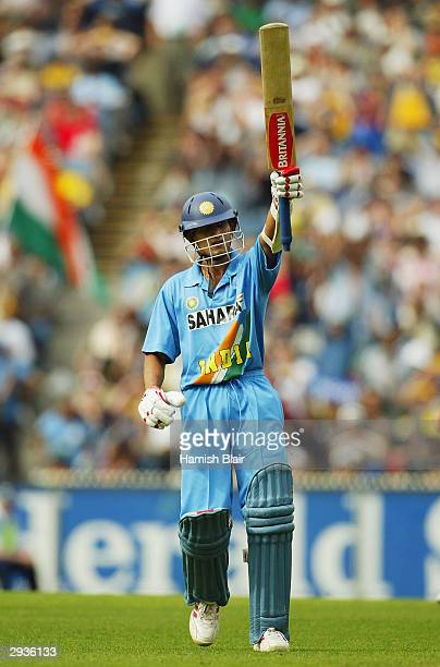 Ajit Agarkar of India reaches 50 during the first final of the VB Series between Australia and India played at the MCG on February 6 2004 in...