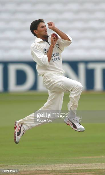 Ajit Agarkar of Middlesex bowling during the Frizzell County Championship Division One match between Middlesex and Gloucestershire at Lord's Cricket...