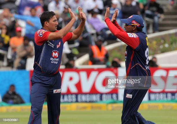 Ajit Agarkar of the Delhi Daredevils celebrates during the Champions league twenty20 match between Perth Scorchers and Delhi Daredevils at Sahara...