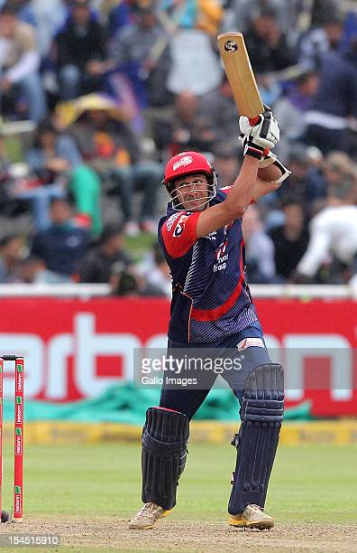 Ajit Agarkar of the Delhi Daredevils in action during the Champions league twenty20 match between Perth Scorchers and Delhi Daredevils at Sahara Park...