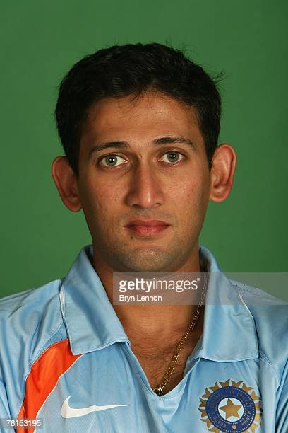 Ajit Agarkar poses during a photo call at the Marriott Hotel on August 17 2007 in Northampton England