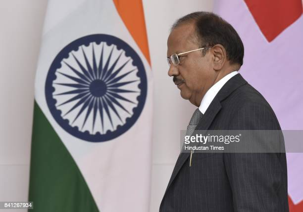 Ajit Doval during a meeting of Mrs Doris Leuthard President of The Swiss Confederation with Prime Minister Narendra Modi Hyderabad House on August 27...