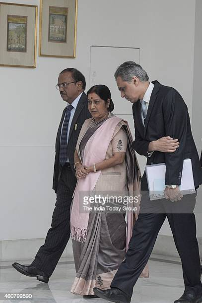 Ajit Doval External Affairs Minister Sushma Swaraj and MEA Spokesperson Syed Akbaruddin at Hyderabad House before the arrival of Bangladesh President