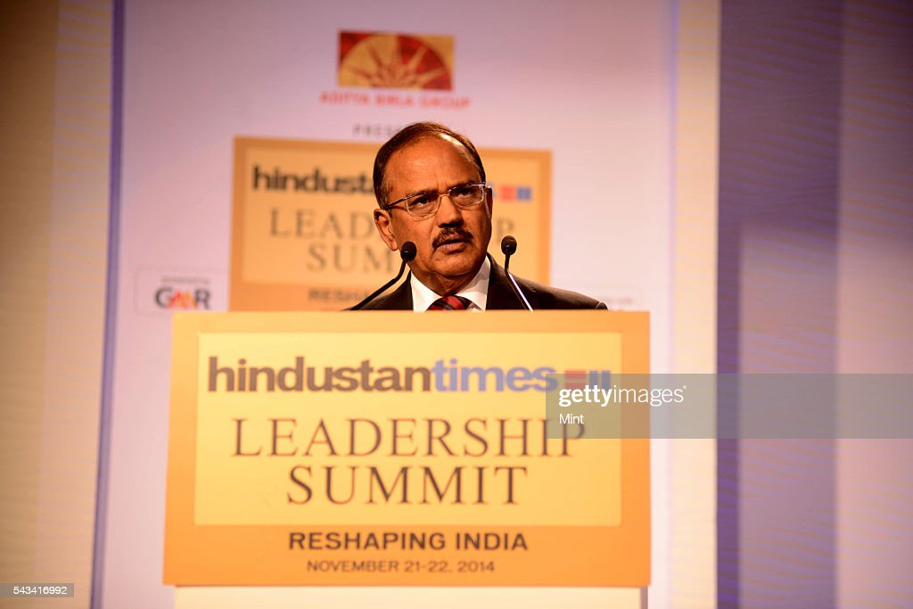 Ajit Doval is an Indian intelligence officer speaking at HT Leadership Summit on November 22, 2014 in New Delhi, India.