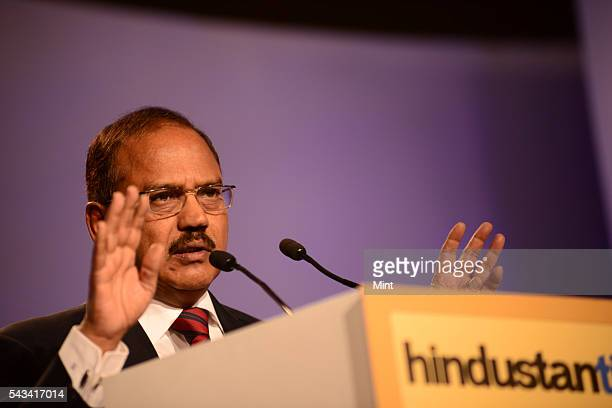 Ajit Doval is an Indian intelligence officer speaking at HT Leadership Summit on November 22 2014 in New Delhi India
