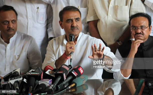 Ajit Pawar Praful Patel and Chagan Bhujbal during the press conferance during NCP unanimously decided his name for the post of deputy chief minister...