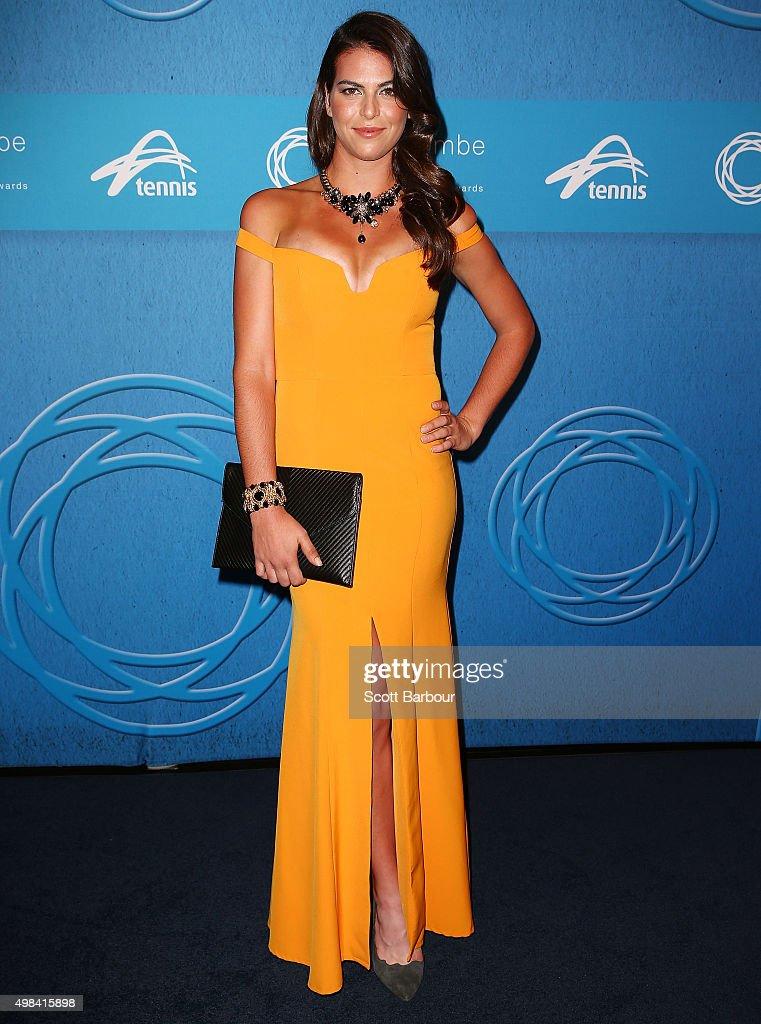 Ajla Tomljanovic arrives at the 2015 Newcombe Medal at Crown Palladium on November 23, 2015 in Melbourne, Australia.