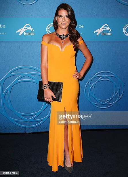 Ajla Tomljanovic arrives at the 2015 Newcombe Medal at Crown Palladium on November 23 2015 in Melbourne Australia