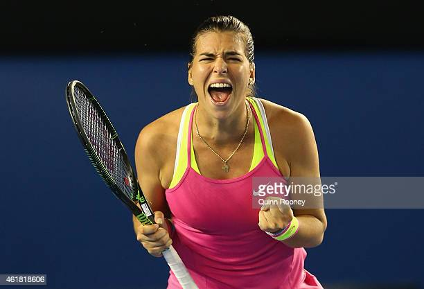 Ajla Tomljanovic of Australia celebrates winning her first round match against Shelby Rogers of the USA during day two of the 2015 Australian Open at...