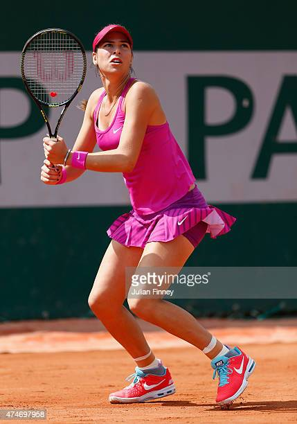 Ajla Tomljanovic of Australia in action in her Women's Singles match against Casey Dellacqua of Australia on day two of the 2015 French Open at...