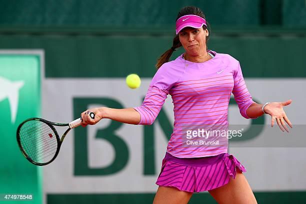 Ajla Tomljanovic of Australia plays a forehand in the Women's Doubles match with Jarmila Gajdosova of Australia against Karolina Pliskova of Czech...