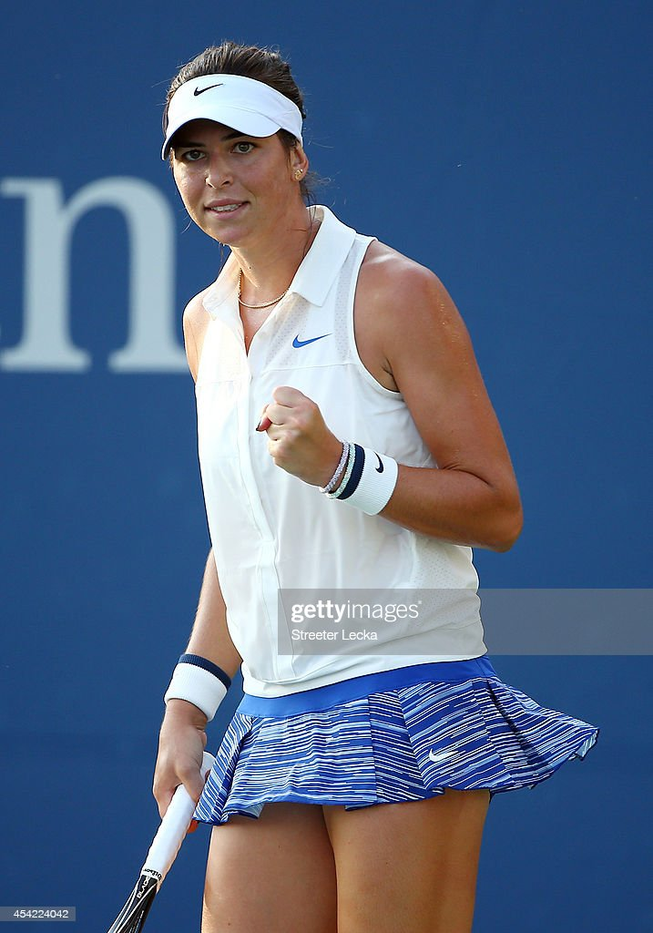 Ajla Tomljanovic of Australia reacts against Carla Suarez Navarro of Spain on Day Two of the 2014 US Open at the USTA Billie Jean King National Tennis Center on August 26, 2014 in the Flushing neighborhood of the Queens borough of New York City.