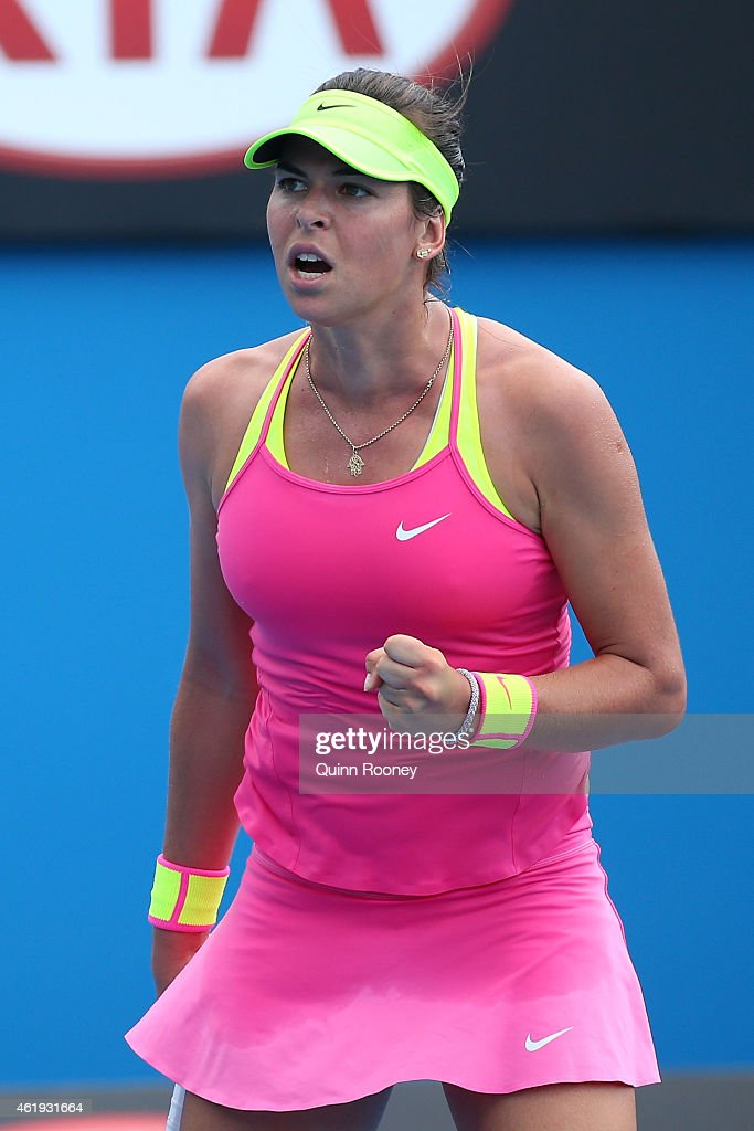 Ajla Tomljanovic of Australia reacts to a point in her second round match against Varvara Lepchenko of the United States during day four of the 2015 Australian Open at Melbourne Park on January 22, 2015 in Melbourne, Australia.