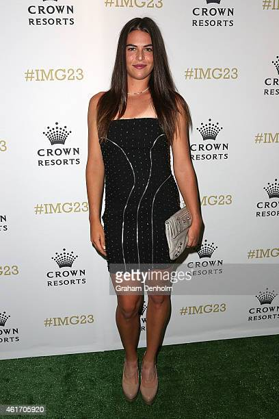 Ajla Tomljanovic of Croatia arrives for Crown's IMG@23 Tennis Players' Party at Crown Entertainment Complex on January 18 2015 in Melbourne Australia