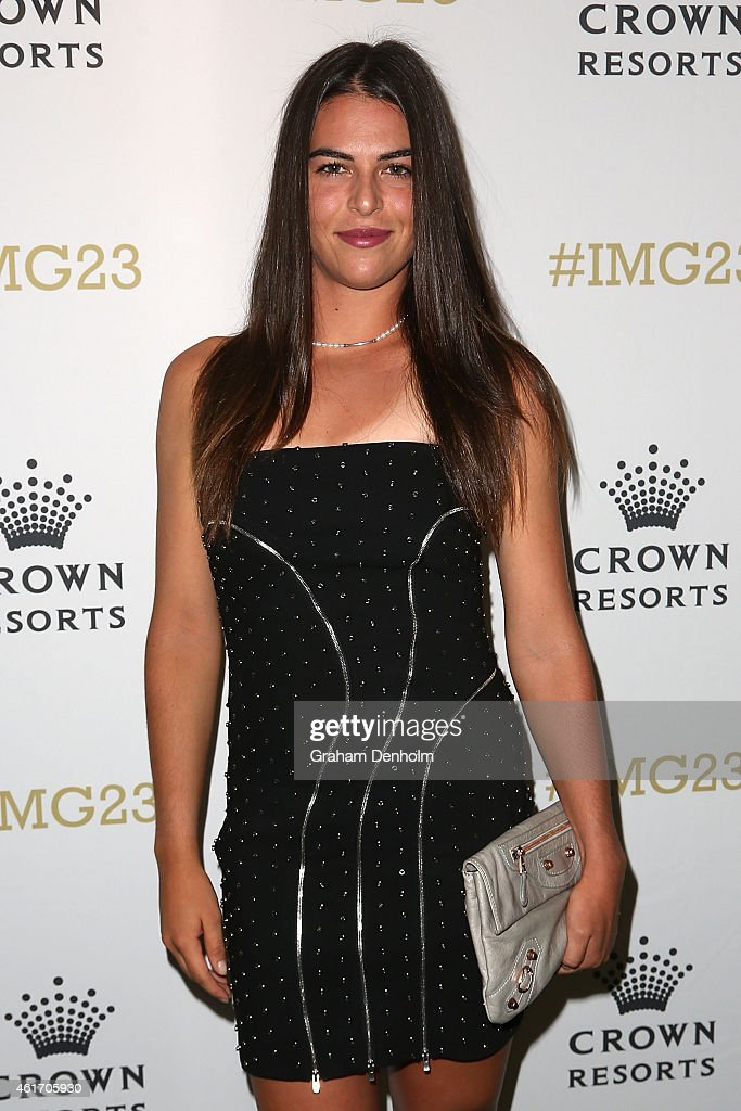 Ajla Tomljanovic of Croatia arrives for Crown's IMG@23 Tennis Players' Party at Crown Entertainment Complex on January 18, 2015 in Melbourne, Australia.