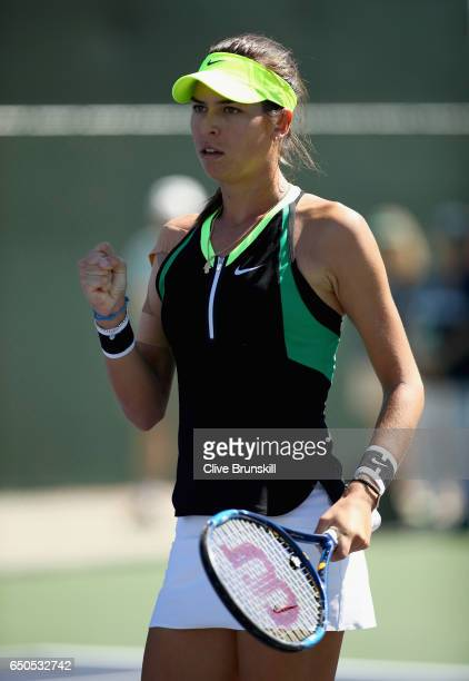 Ajla Tomljanovic of Croatia celebrates a point against Julia Goerges of Germany in their first round match during day four of the BNP Paribas Open at...