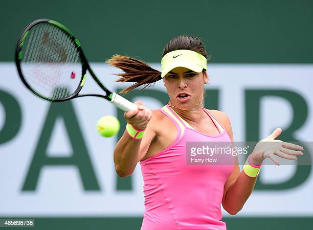 Ajla Tomljanovic of Croatia hits a forehand in her match against Irina Falconi during the BNP Parisbas Open at the Indian Wells Tennis Garden on...