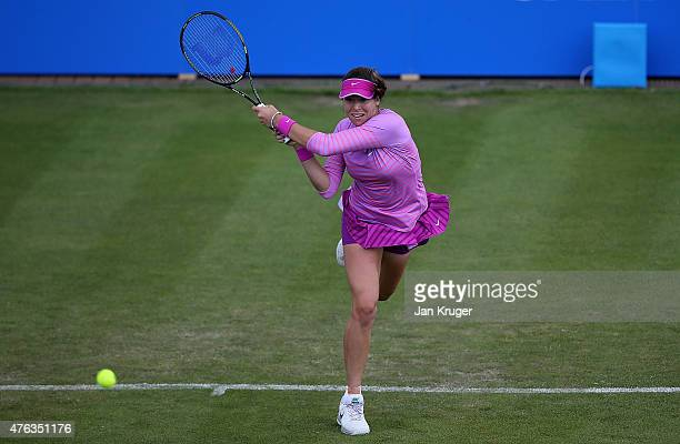 Ajla Tomljanovic of Croatia in action against Lauren Davies of USA in their first round match on day one of the WTA Aegon Open Nottingham at...
