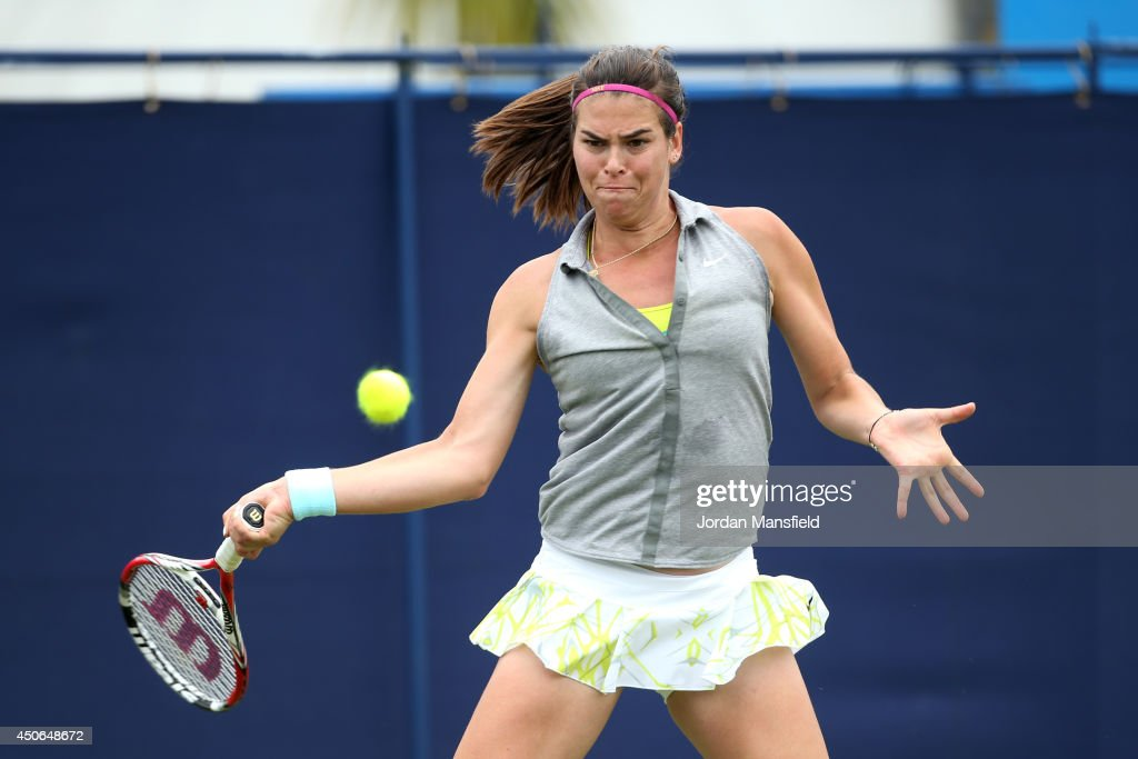 Ajla Tomljanovic of Croatia in action against Paula Ormaechea of Argentina during their Women's Singles third round qualifying match on day two of the Aegon International at Devonshire Park on June 15, 2014 in Eastbourne, England.