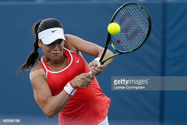 Ajla Tomljanovic of Croatia plays against Madison Keys of the United States during day three of the Bank of the West Classic at the Stanford...