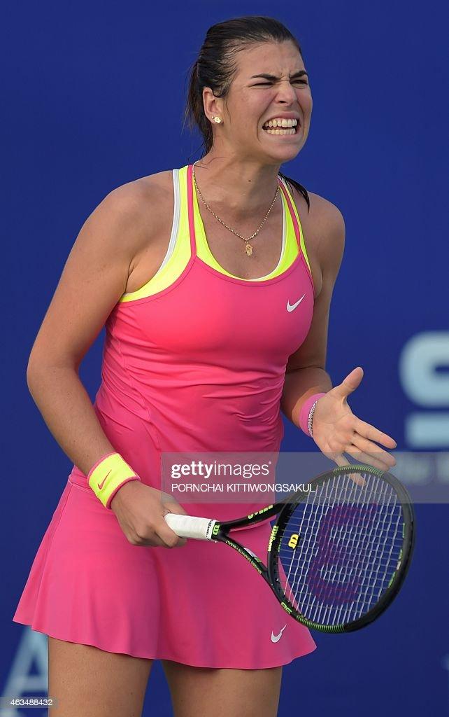 Ajla Tomljanovic of Croatia reacts as she plays Daniela Hantuchova of Slovakia during their final round match of the WTA Pattaya Open tennis tournament in Pattaya on February 15, 2015. Hantuchova beat Tomljanovic 6-3, 3-6, 4-6.