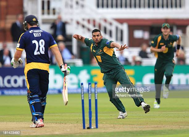 Ajmal Shahzad of Notts takes the wicket of Gareth Rees of Glamorgan during the Yorkshire Bank 40 Final match between Glamorgan and Nottinghamshire at...