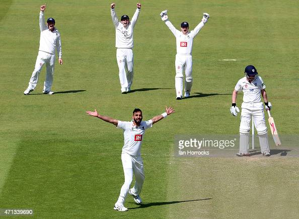 Ajmal Shahzad of Sussex appeals for the wicket of Paul Collingwood of Durham during day 2 of the LV County Championship match between Durham CCC and...