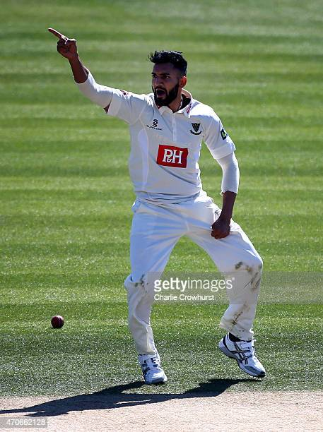 Ajmal Shahzad of Sussex celebrates after bowling out Richard Oliver of Worcestershire's during day four of the LV County Championship match between...