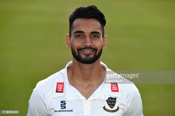Ajmal Shahzad of Sussex poses for a portrait during the Sussex Media Day at the County Ground on April 4 2016 in Hove England