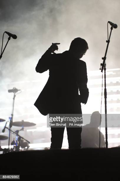 3D aka Robert Del Naja performs with Massive Attack on the Other Stage during day two of the Glastonbury Festival Somerset