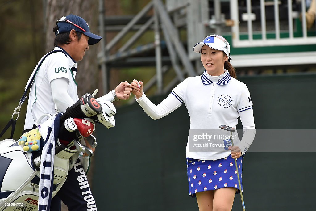 <a gi-track='captionPersonalityLinkClicked' href=/galleries/search?phrase=Akane+Iijima&family=editorial&specificpeople=4606272 ng-click='$event.stopPropagation()'>Akane Iijima</a> of Japan celebrates after making her birdie putt on the 18th green during the second round of the World Ladies Championship Salonpas Cup at the Ibaraki Golf Club on May 6, 2016 in Tsukubamirai, Japan.
