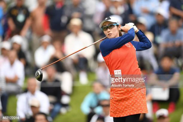 Akane Iijima of Japan hits her tee shot on the 10th hole during the second round of the Miyagi TV Cup Dunlop Ladies Open 2017 at the Rifu Golf Club...