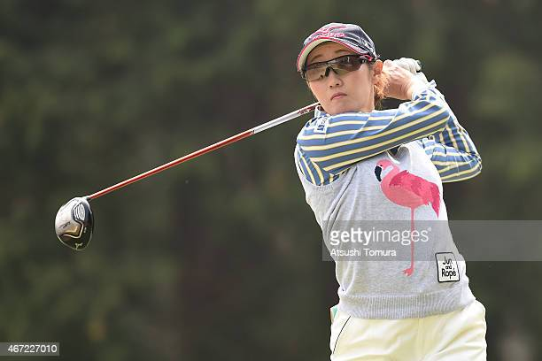 Akane Iijima of Japan hits her tee shot on the 2nd hole during the final round of the TPoint Ladies Golf Tournament at the Wakagi Golf Club on March...