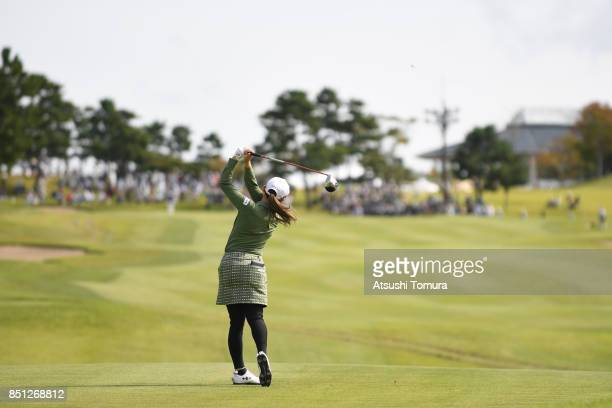 Akane Iijima of Japan hits her tee shot on the 9th hole during the first round of the Miyagi TV Cup Dunlop Ladies Open 2017 at the Rifu Golf Club on...