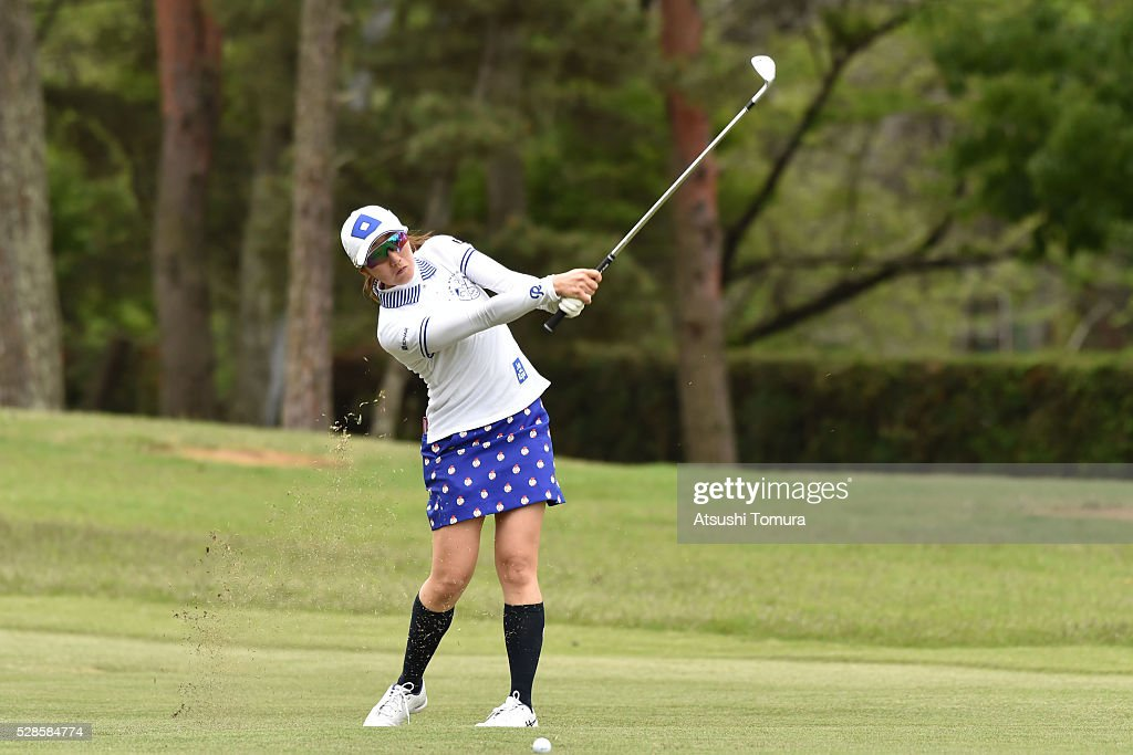 <a gi-track='captionPersonalityLinkClicked' href=/galleries/search?phrase=Akane+Iijima&family=editorial&specificpeople=4606272 ng-click='$event.stopPropagation()'>Akane Iijima</a> of Japan hits her third shot on the 18th hole during the second round of the World Ladies Championship Salonpas Cup at the Ibaraki Golf Club on May 6, 2016 in Tsukubamirai, Japan.