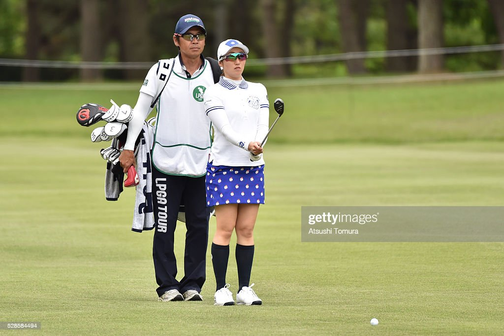 <a gi-track='captionPersonalityLinkClicked' href=/galleries/search?phrase=Akane+Iijima&family=editorial&specificpeople=4606272 ng-click='$event.stopPropagation()'>Akane Iijima</a> of Japan lines up her third shot on the 18th hole during the second round of the World Ladies Championship Salonpas Cup at the Ibaraki Golf Club on May 6, 2016 in Tsukubamirai, Japan.